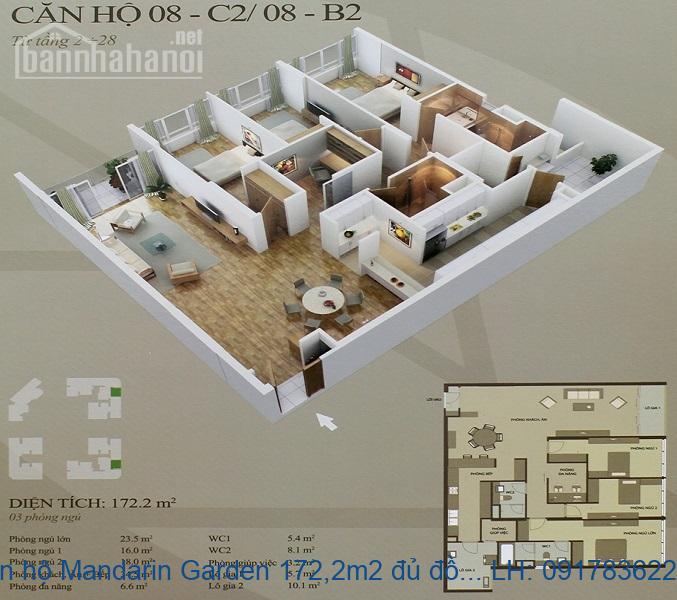 Bán căn hộ Mandarin Garden 172,2m2 đủ đồ giá 49tr/m2