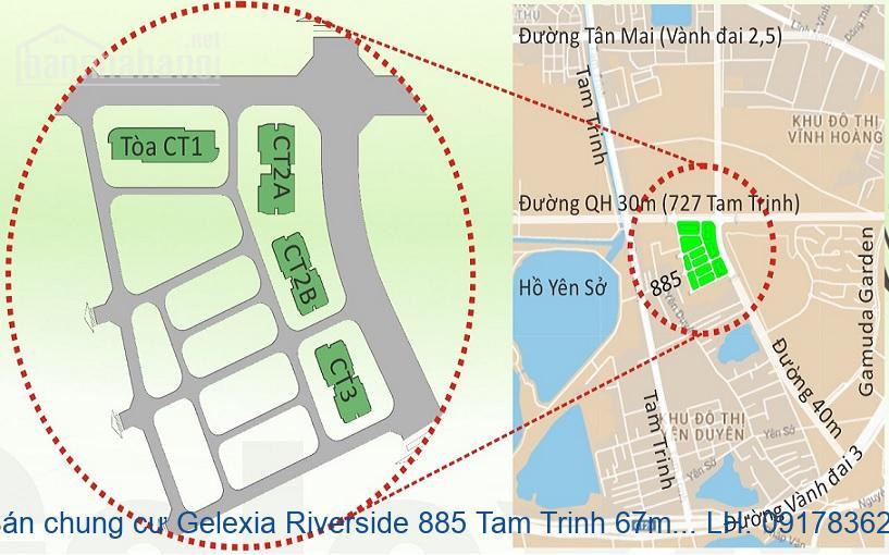 Bán chung cư Gelexia Riverside 885 Tam Trinh 67m2 2PN giá 1,25tỷ