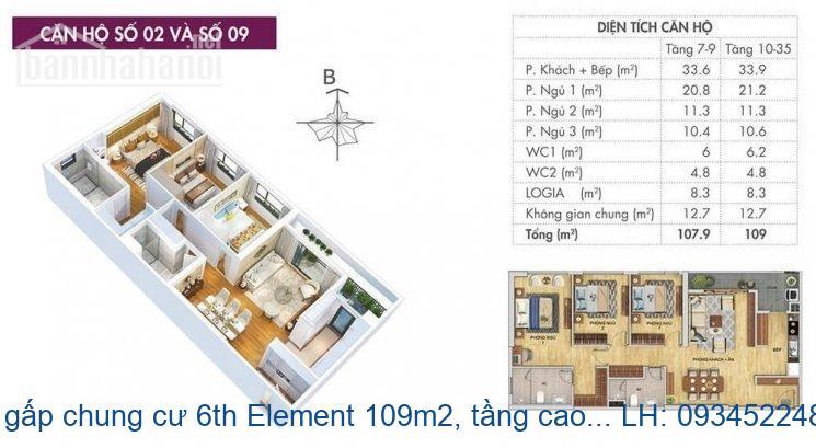 Bán gấp chung cư 6th Element 109m2, tầng cao, ban công ĐN, giá 4.8 tỷ