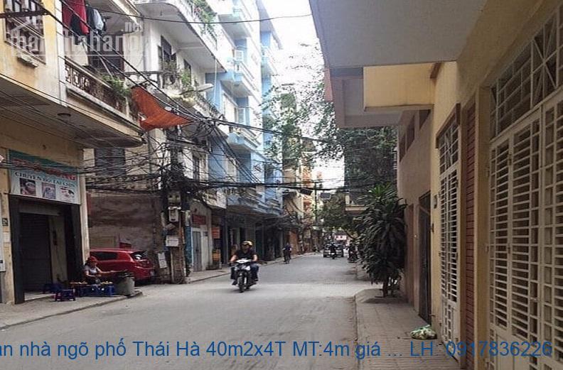 Bán nhà ngõ phố Thái Hà 40m2x4T MT:4m giá 9tỷ