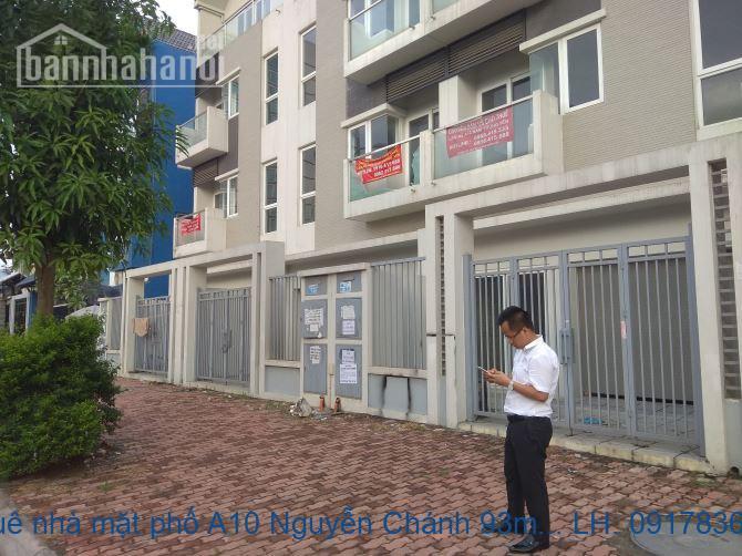 Cho thuê nhà mặt phố A10 Nguyễn Chánh 93m2x4T MT:6m giá 80tr/tháng